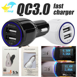 Wholesale Car Usb Charger Wholesale - High Quality 9V 2A 12V 1.2A QC3.0 fast car charge 3.1A Dual USB Fast Charging phone charger for Samsung Galaxy S8 with package
