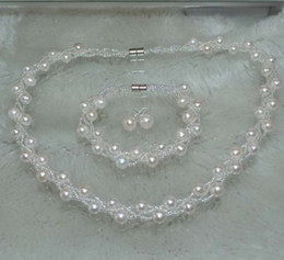 Wholesale Culture Mix - 7-8mm 3strands cultured freshwater pearl Sets Necklace Bracelet & Earring stud