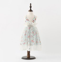 Wholesale Floral Gauze Dress - In stock hot selling New Arrivals girl Cotton and gauze patchwork little flower printed elegant Fashion Princess lace sling Dress