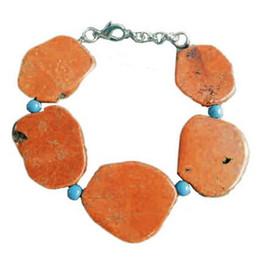 Wholesale Orange Beaded Bracelets - Woman Bracelet 20x35mm Bright Orange Turquoise Slice Stone Handmade Adjustable