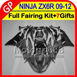 Wholesale Gloss Black Kawasaki Zx6r Fairings - gloss grey 7gifts For KAWASAKI NINJA ZX 6 R ZX636 09-12 ZX6R 09 10 11 12 5GP73 ZX 636 ZX-6R ZX 6R 2009 2010 2011 2012 TOP grey black Fairing