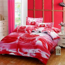 Wholesale Duvet Covers Cherry - Romantic Cherry red 3D Print Duvet Cover Bed Linen Sheets Pillowcase Designer 100% Cotton 4 piece Bedding set Queen Size