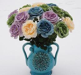 pintura a óleo flores solteiras Desconto 10 Pçs / lote Rosa Flores Artificiais Simulação Única Pintura A Óleo Efeito de Rosas de Chá para a Mesa de Flores de Casamento decoração de Casa