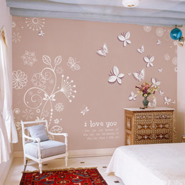 Wholesale Wall Sticker Wood - Wholesale-Butterfly flower fly Wallpaper roll Large mural papel de parede 3D stereoscopic mural 3D Wall paper wall sticker Home Decoration