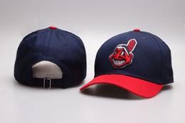 Wholesale Strap Backs Hats - 2017 NEW Men's Navy Blue Color Cleveland Indians Golf Visor Strap back Hats Embroidered Logo Sport Adjustable Baseball Snapback Caps