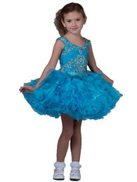 Wholesale Turquoise Infant Dresses - National Glitz Pageant Dress Infant Custom Made Turquoise Short Mini Gowns Baby Girls Birthday Party Pageant Tutu Dresses