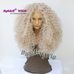Wholesale Natural Looking Lace Front Wigs - Afro Deep curly wig for black women wide bleached knots glueless Lace front wig natural look cheap price brazilian synthetic Hair Lace wig