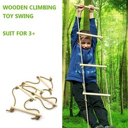 Wholesale Multi Swing Set - Children Toy Swing Outdoor Indoor Wood Ladder Rope Playground Games For Kids Climbing Rope Swing Wooden 5 Rungs PE Rope