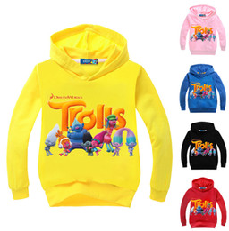 Wholesale Wholesale Hot Pink Cotton Hoodies - Hot Trolls Children Cardigan Sweatshirt Cartoon Poppy Spring Autumn Zipper Hoodies Long Sleeve Jackets Kids Casual Sweatshirts Clothes WD165
