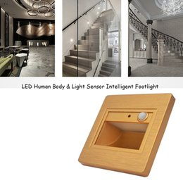 Wholesale Body Sensor - 1.5W Human Body & Light Sensor LED Wall Plinth Recessed Lighting Lamp Stairs Hotel Night Lights Intelligent Induction Led Ground Footlight