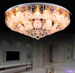Wholesale Peacock Lamps - Modern Round Crystal Chandeliers D100cm Flush Mount Ceiling Lamp E14 Led Stainless Steel Lustre Hanging Lights Fixtures peacock screen