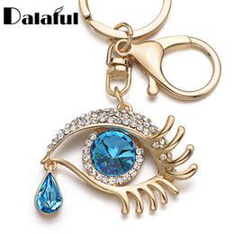 Wholesale Heart Tear - beijia Eye Tear Drop Key Chains Rings Holder Big Blue Angel Eyes Bag Pendant For Car Keyrings KeyChains K294