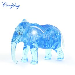 Wholesale Elephant Puzzle - Wholesale- 41pcs CP9058 DIY Funny Elephant puzzle 3D crystal puzzles animal assembled model diy birthday gift toys for kids