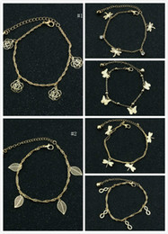 Wholesale Gold Butterfly Anklet - Women Anklets Gold Tone 2 Layer Hollow Out Rose Dragonfly Butterfly Leaf Lucky 8 Ankle Bracelets Foot Chain Barefoot Sandals Womens Jewelry