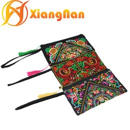 Wholesale Ethnic Bags - Women Embroidered Bag Lady Clutch bags national bags Flower floral Bag Ethnic National Retro Coin Purse Chinese trandition bags XN-PS93050