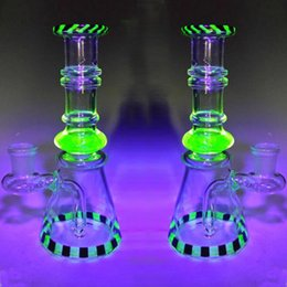 Wholesale 18 Tall - Top Quality Uv Material Glass Bongs 18 cm Tall Noctilucent Heady Smoking Water Bongs Recycle Oil Rigs Water Pipes Beaker Noctilucent Hookahs