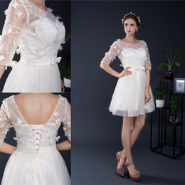 Wholesale Lace Overlay Back - Sheer Half sleeves Semi Formal Party Dress For Teens Lace Overlay Short Cocktail Homecoming Dress Custom Made