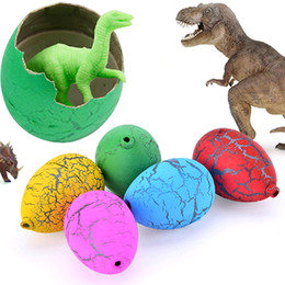 Wholesale Magic Gags - 100% New Brand 60pcs lot Magic Water Hatching Inflation Growing Dinosaur Eggs Educational Novelty Gag Toys for kids