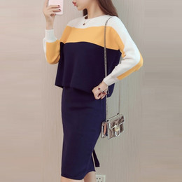 Wholesale Korean Dresses Top Skirt - 2017 Korean style New Fashion Elegant striped Patchwork Knitted Skirt Suit 2 Piece Set Women Sweater Top And Knee Length Skirts