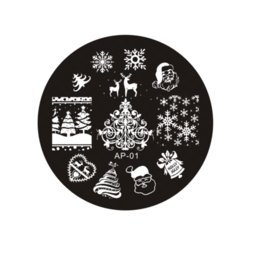 Wholesale Nail Art Disk - Ap Series Round Plates Nail Stencil Nail Art Image Plate Template Nail Disk Stamping Plates wholesale