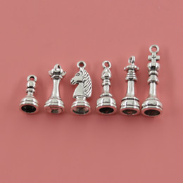 Wholesale Chess Necklace - Wholesale- 1piece Chess Charms Antique Silver And Bronze Plating Zinc Alloy Pendants Jewelry Findings For Necklace
