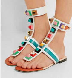 Wholesale Mixed Style Thongs - Mixed color beautiful rivets decorated buckle strap flat heel thong sling back sandals casual style for woman in summer