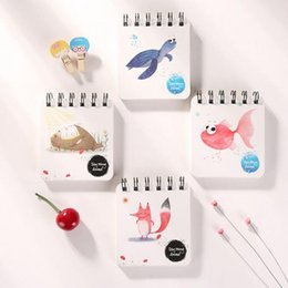 Wholesale Free Cartoon Sketches - Wholesale- DIY Cute Kawaii Flower Coil Sketching Book Cartoon Animal Notebook For Kids Paint Draw Korean Stationery Free Shipping 2428