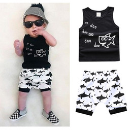 Wholesale Toddler Boy Suit Sets - Kids Clothing Sets Summer Baby Clothes Cartoon Fish Shark Print for Boys Outfits Toddler Fashion Tshirt Shorts Children Suits New