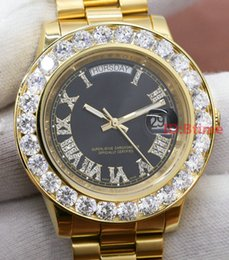 Wholesale Diamond Watches Stainless - Luxury Brand Gold President Day-Date Diamonds Watch Men Stainless Mother of Pearl Dial Diamond Bezel Automatic WristWatch AAA mens Watches