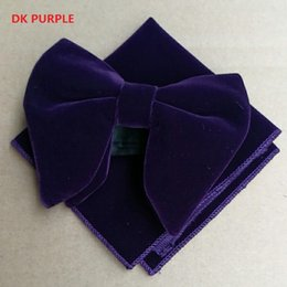 Wholesale Purple Bow Ties - Wedding Dk Purple Velvet Bowties with Matching hankie Mens Unique Tuxedo Velvet Bowtie Bow Tie Hankie Set Necktie Set