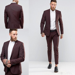 Wholesale best winter wear - Cheap One Buttons Slim Groom Tuxedos Two Pieces Groomsmen Best Man Suits Mens Wedding Suits Groom Wear (Jacket+Pants) Custom Made Suits