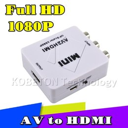 Wholesale Av Converter Full Hd - Wholesale-New Arrival RCA AV Male to HDMI Female Converter Adapter Full HD 1080P Mini Composite CVBS to HDMI AV2HDMI Audio Converter