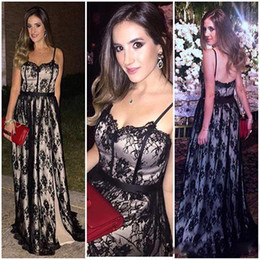Wholesale Inside Dress - vestidos de festa Sexy Spaghetti Straps Black Lace Evening Dresses Custom Made 2017 Champagne Inside A Line Prom Party Gowns