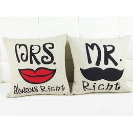 Wholesale Lips Throw Pillows - Wholesale- 1pc 42*43cm Mr&Mrs Always Right Mustache Lip Pillowcase Cotton Fabric Decorative Couple Pillow Case Throw Pillow Cover EJ602712