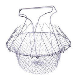 Wholesale french fry basket - 1 Pcs Foldable Steam Rinse Strain Fry French Chef Basket Magic Basket Mesh Basket Strainer Net Kitchen Cooking Tools