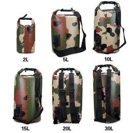 Wholesale Tarpaulin Waterproof Bags - Bucket Waterproof Beach Bag Sale Multifunctiona PVC Tarpaulin 250D Single Shoulder Two Shoulder Camouflage Fashion Bag for Wowen