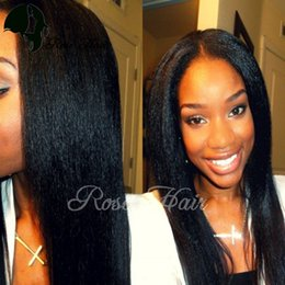 "Wholesale Indian Yaki Remy Hair - Yaki Straight Full Lace Human Hair Wigs For Black Women Brazilian Remy Hair Lace Wigs Pre Plucked Natural Hairline 10""-26"""