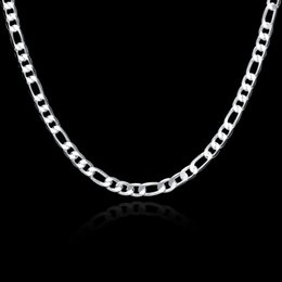 Wholesale 925 Sterling Silver Choker - Free Shipping Vogue Men's 925 Silver Curb Chain Necklace 6mm 20inch ,Fashion Silver Jewelry Necklaces 15Pcs N032
