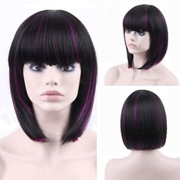 Wholesale Purple Ombre Synthetic Wig - Free Shipping Straight Curly Ombre Color Black purple Factory Directly Providing Wigs Price High Quality Synthetic Wigs