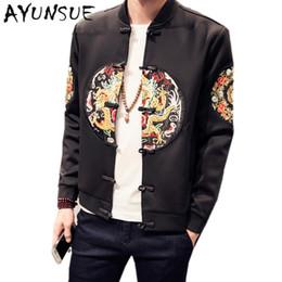 Wholesale Chinese Embroidery Jacket - Wholesale- Black Chinese Style Casual Baseball Jacket Mens Jackets And Coats Bomber Jacket Men's Spring Autumn Embroidery Clothing FYY287
