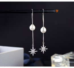 Wholesale Tops Rhinestone Girls - Top selling elegant pear and star long drop earrings, 925 sterling silver ear line for women, girls cute eardrop