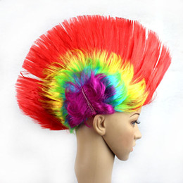 wholesale wigs hairpieces Promo Codes - Creative Masquerade Periwig Christmas Cosplay Punk Cockscomb Shape Hairpiece Colorful Wig Styling Accessory Bar Party Supplies 5 5jh C R