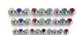 Wholesale Gem Stones Rings - Tongue Ball Screw Gem Stone Crystal Spark Lip Stud Eyebrow Ring 316L stainless steel Piercing accessory 1.6*6mm 1.2*3mm Free Shipping