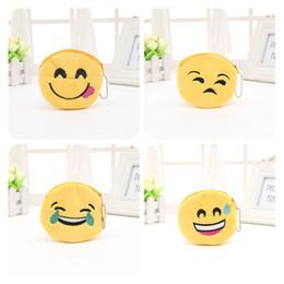 borse di monete gialle Sconti Cartone animato Emoticon Portamonete per i bambini Regalo Originalità Giallo QQ Emoji Plush Zipper Coin Purse Many Styles 0 85my C R