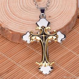 Wholesale Titanium Necklace For Fashion - 5 colors cross necklaces pendants for women and men punk vintage cross necklace fashion men's awesome cross pendant
