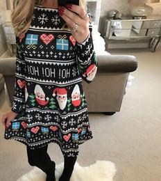 Wholesale Women Santa S Clothes - New Women Cute Printed Santa Claus Snowman Snowflake Christmas Dress Casual Winter Long Sleeve Clothing Dresses 161117
