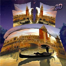 Wholesale Duvet Cover Sets City - Hot Sale NEW Modern Style scenery City Pairs Pattern Reactive Printing 4 Pieces Bedding Set Wholesale