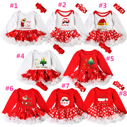 Wholesale Baby Christmas Headband - INS Baby girls Christmas printing Red dress 2ps sets crocheted bow headband+Xmas pattern romper Infants first christmas gifts cute outfits