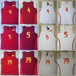 Wholesale Team Jerseys For Cheap - Cheap Spain Basketball Jerseys 5 Fernandez 4 Pau Gasol 79 Ricky Rubio For Sport Fans Red White Team Color All Stitching With Name Size S-3XL