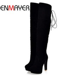 Wholesale Grey Long Boots For Women - Wholesale-ENMAYER big size34-43 high Over-the-Knee boots for women Flock Tassel ladies long boots sexy winter shoes